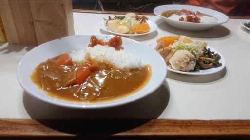 尊仏山荘の夕食カレー
