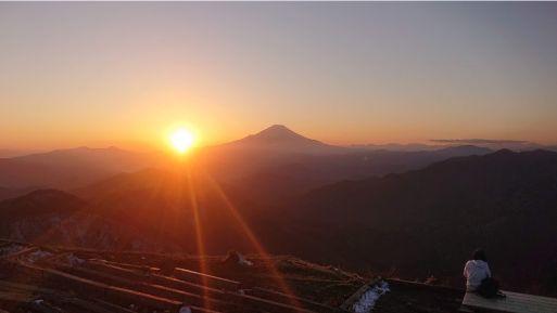 尊仏山荘の夕日